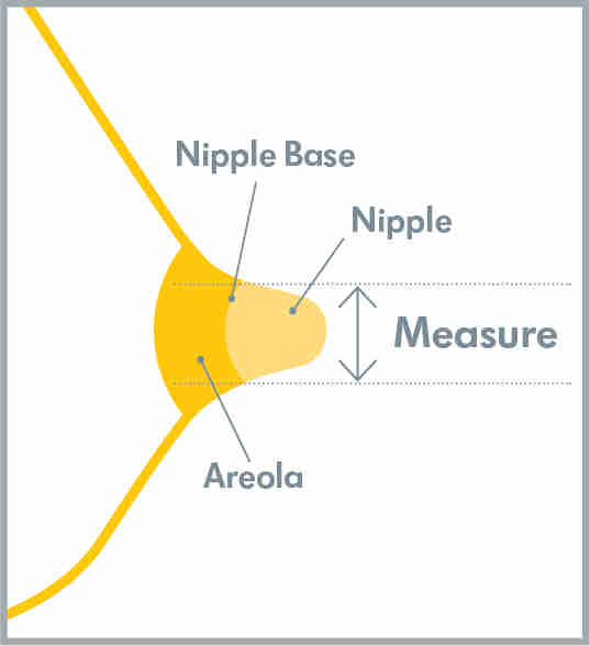 Yellow illustration of breast anatomy showing how to measure nipple size